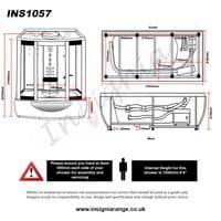 Insignia INS1057 1650mm x 850mm Steam Shower Whirlpool Spa Bath